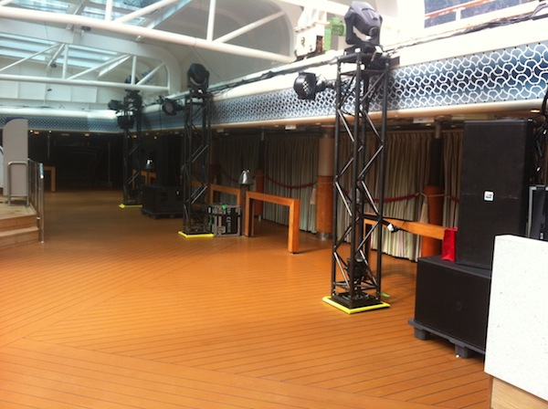 JBL SRX Speaker Setup on RSVP Vacations 2017 Alaska Cruise