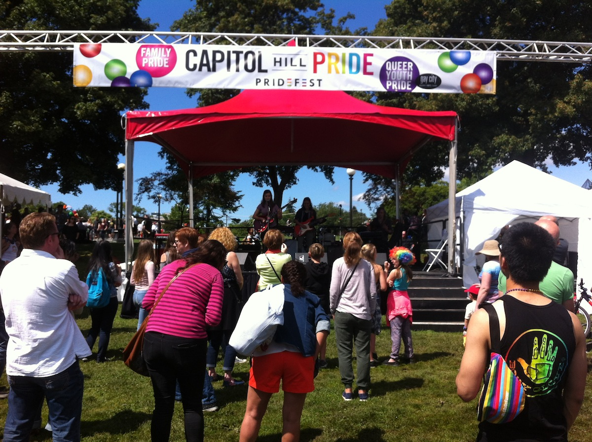 Seattle PrideFest Capitol Hill 2016 - Park Stage at Cal Anderson Park, June 25th, 2016. JBL VRX speakers.