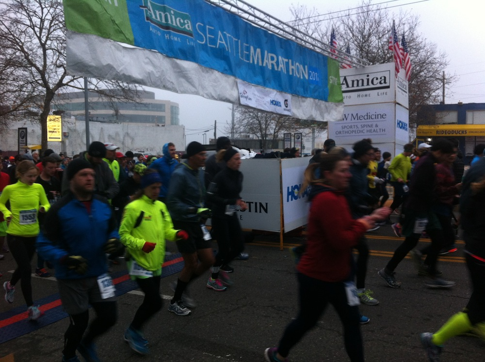 2015 Amica Seattle Marathon Start Line - Runners Starting