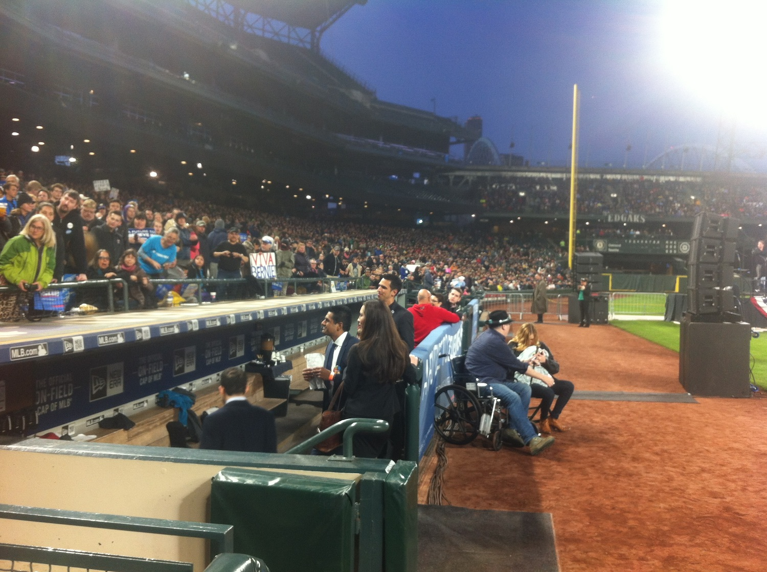 Dugout at Safeco Field for Bernie Sanders Rally on March 25th, 2016. John Popper is also pictured.